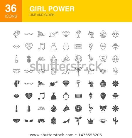 Girl Power Line Web Glyph Icons Stock photo © Anna_leni