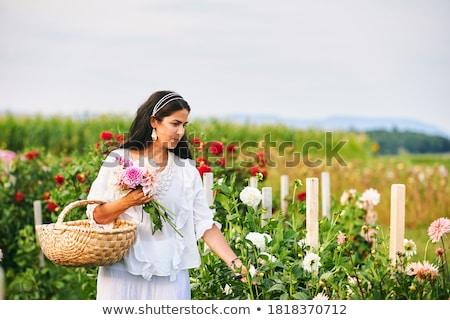 Olgun kadın dışında pembe elbise çiçekler Stok fotoğraf © Lopolo