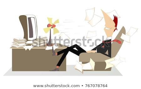 cartoon · man · tabel · computer · vector · mannelijke - stockfoto © tikkraf69
