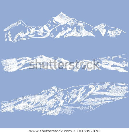 color summit of mountain landscape hand drawn vector stock photo © pikepicture