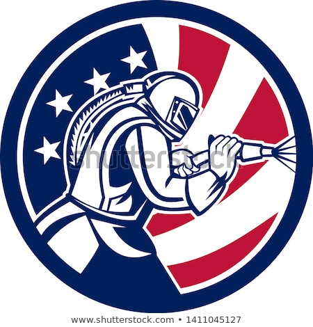 American Sandblaster Abrasive Blasting USA Flag Icon Stock photo © patrimonio