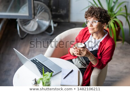 young female designer with cup of coffee sitting in armchair in cafe stock photo © pressmaster