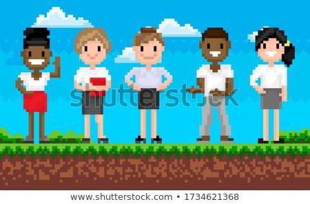 choose superhero adventure pixel game vector stock photo © robuart