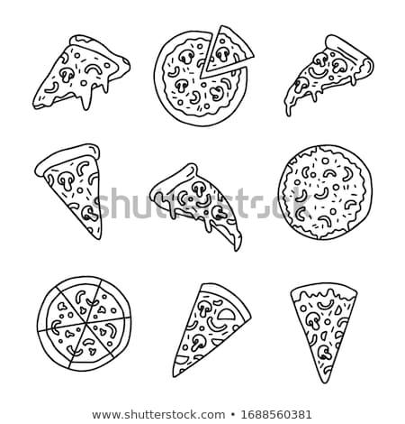 Karikatur · Kritzeleien · Pizza · Illustration · monochrome · detaillierte - stock foto © balabolka