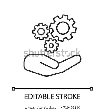Open hand cog versnellingen digitale composiet business Stockfoto © wavebreak_media