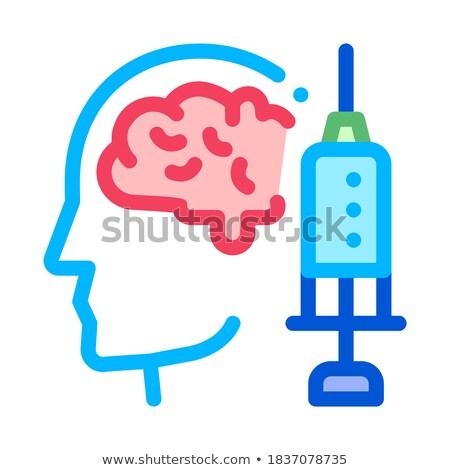 Hersenen spuit injectie vaccin hoofdpijn vector Stockfoto © pikepicture