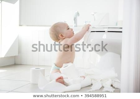 прелестный ребенка мальчика играет туалетная бумага улыбка Сток-фото © Lopolo