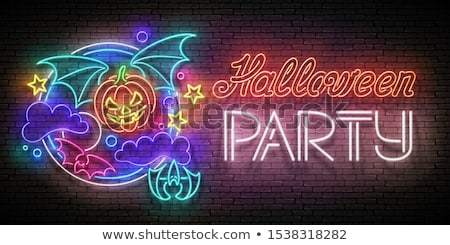 glow halloween greeting card with flying vampire pumpkin on the stock photo © lissantee