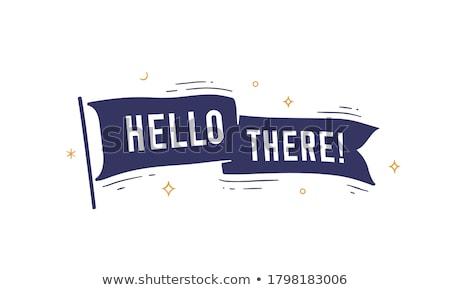 bayrak · şerit · merhaba · eski · okul · afiş - stok fotoğraf © foxysgraphic