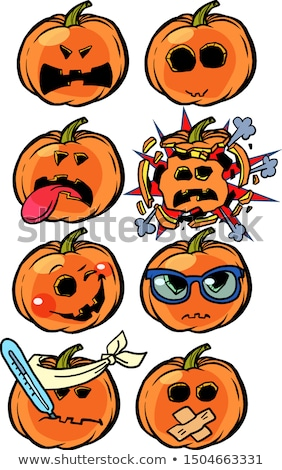 anger rage disease explosion madness Emoji Halloween pumpkin set collection Stock photo © rogistok