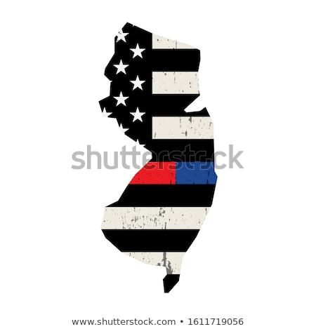 New Jersey strażak wsparcia banderą ilustracja amerykańską flagę Zdjęcia stock © enterlinedesign
