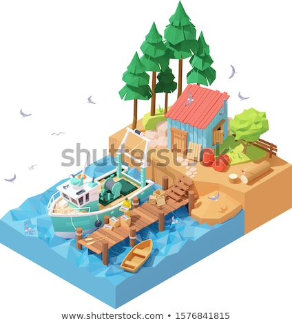 Vector isometric fisherman unloading catch from trawler on pier Stock photo © tele52