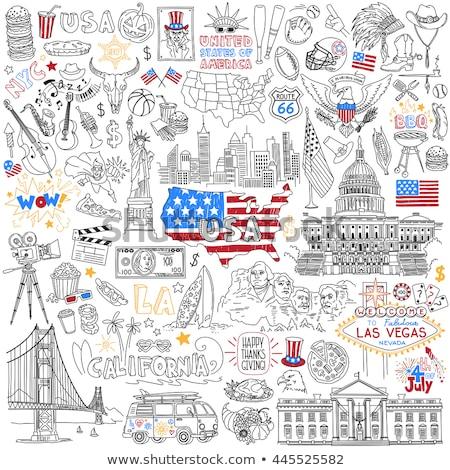 Native American hand drawn vector doodles illustration. Stock photo © balabolka