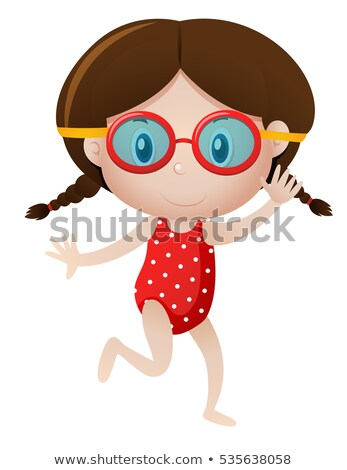 Girl wearing goggles on white background Stock photo © bluering