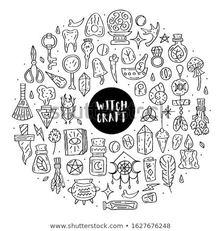 Witchcraft cute vector doodle hand drawn big clip art Stock photo © foxbiz