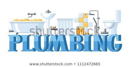Vetor sanitário engenharia isolado branco construção Foto stock © dashadima