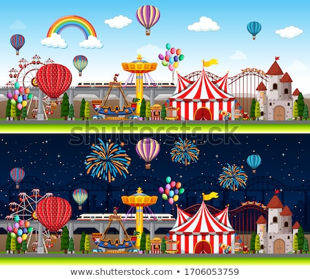 Circus scene with many rides at day time Stock photo © bluering