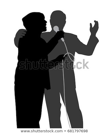 Feminino silhueta cantando canção ópera vetor Foto stock © pikepicture