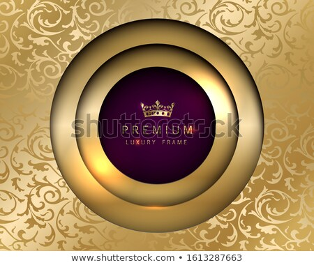 Vector luxury vintage round frame golden background. Vip invitation or announcement card paper cut Stock photo © Iaroslava