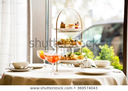 Té de la tarde ceremonia taza té servido mesa Foto stock © grafvision