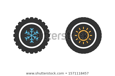 replacing summer tires with winter tires icon vector outline illustration Stock photo © pikepicture