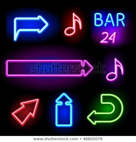 Négy nyíl neonreklám irányítás promóció felirat Stock fotó © Anna_leni