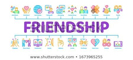 Przyjaźni relacja minimalny banner wektora Zdjęcia stock © pikepicture