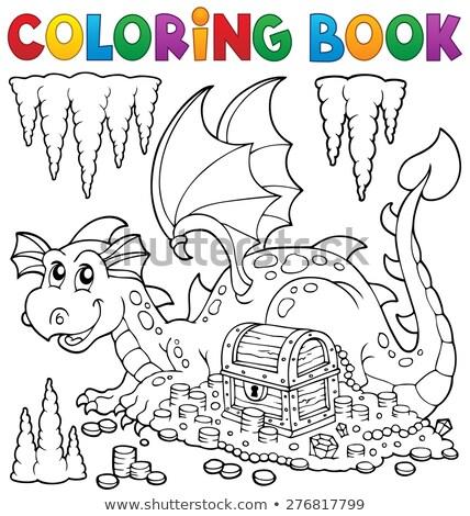 Coloring book dragon and treasure chest Stock photo © clairev