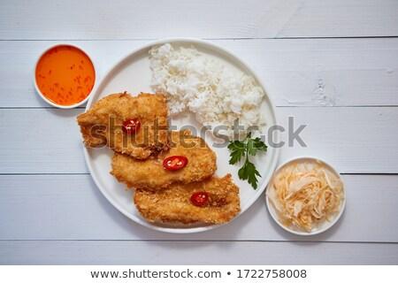 Frango frito servido arroz ver Foto stock © dash