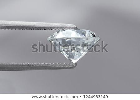 側面図 輝かしい カット ダイヤモンド グレー 背景 ストックフォト © Arsgera