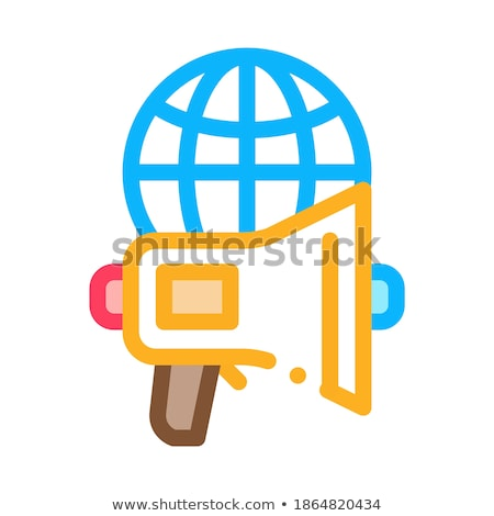 Loudspeaker Globe Icon Vector Outline Illustration Stock photo © pikepicture