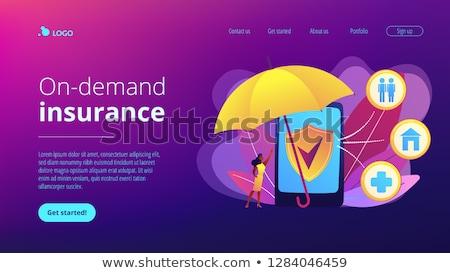 Biztosítás leszállás oldal vásárló védelem okostelefon Stock fotó © RAStudio