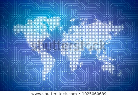 Hi-tech pixelated world map on complicated computer microchip on blue, abstract cyberspace concept Stock photo © evgeny89