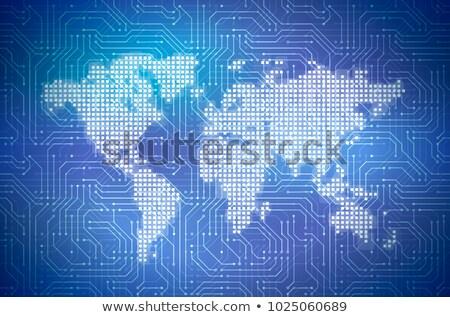 Mappa del mondo computer microchip blu Foto d'archivio © evgeny89
