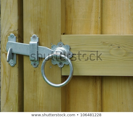 Close up closed latched wooden gate Stock photo © duoduo