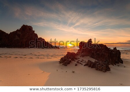 Golden sunrise warm sunlight on the remote rocky beach Stock photo © lovleah