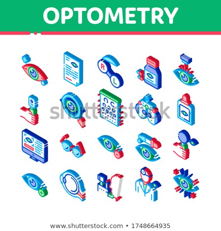 Optometry Medical Aid Isometric Icons Set Vector Stock photo © pikepicture