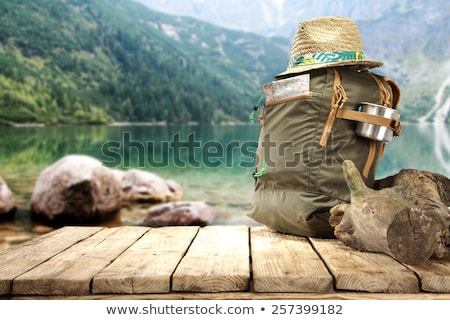 Woman with tourist knapsack on mountain Stock photo © wildman