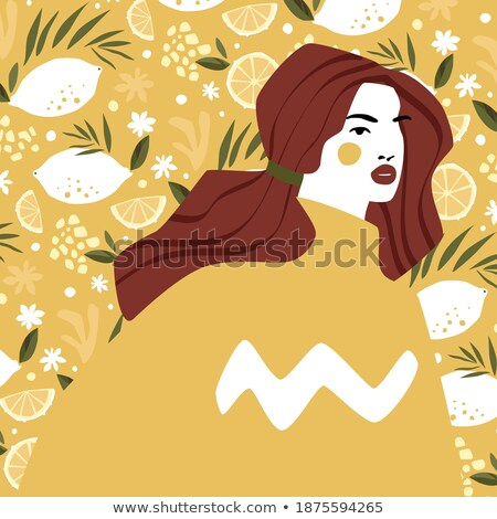 ストックフォト: 美しい · 女性 · 図 · レモン · 白 · 女性