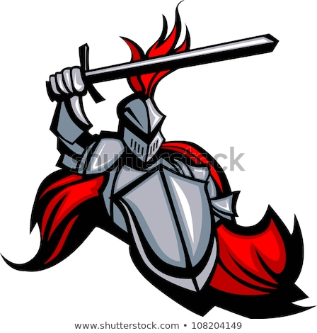 knight mascot with sword and shield vector image stock photo © chromaco