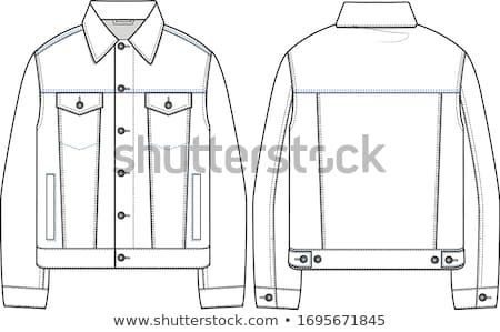 Denim jas lang mooie brunette witte jurk Stockfoto © disorderly