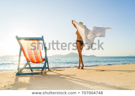 Jeune femme bikini silhouette permanent plage fond Photo stock © nurrka