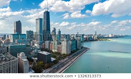 Stok fotoğraf: Chicago · şehir · merkezinde · akşam · karanlığı · gökdelenler