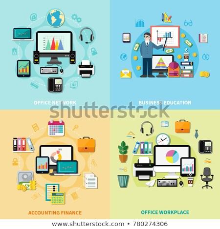 Közösségi média ikon szett mappa forma férfi hálózat Stock fotó © cienpies