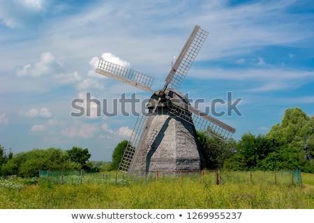 Wiatrak Błękitne niebo niebo energii retro Zdjęcia stock © skylight