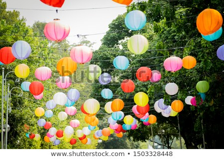 カラフル 紙 提灯 蓮 祭り 歳の誕生日 ストックフォト © dsmsoft