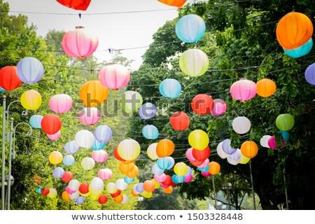 kleurrijk · papier · lantaarns · lotus · festival · verjaardag - stockfoto © dsmsoft