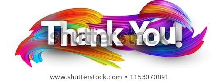 Obrigado feliz grato menina vestido vermelho Foto stock © dolgachov