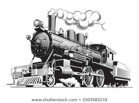 ストックフォト: 機関車 · レトロな · 列車 · 輸送 · 旅行 · ヴィンテージ