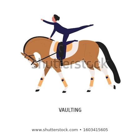 Mostrar acrobacia cinza cavalo animal Foto stock © cynoclub